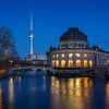 TV Tower, Bode Museum and Spree River in Berlin at dusk