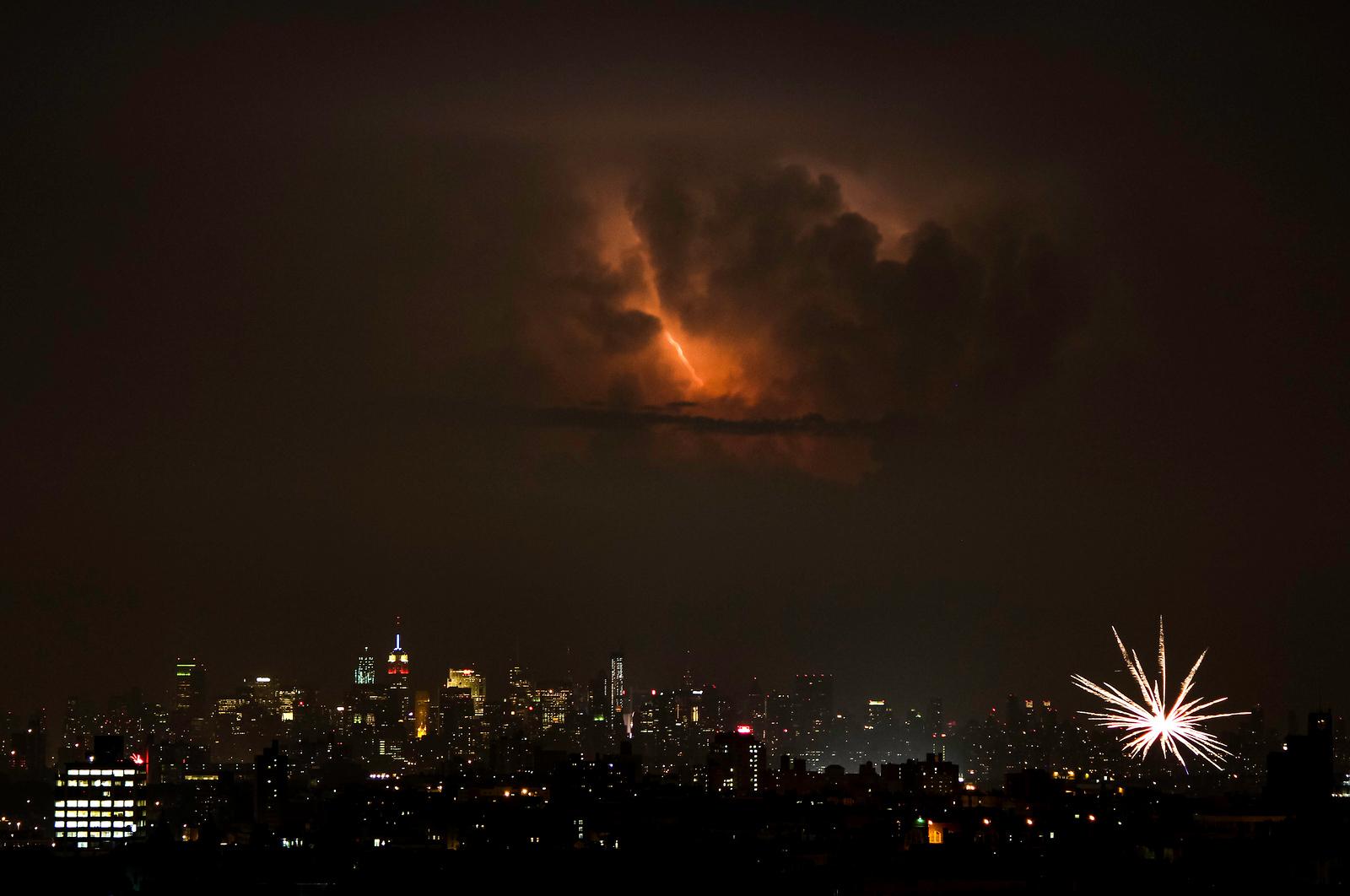 Manhattan Lightning Meets Bronx Fireworks