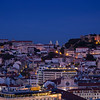 Scenic city view in Lisbon at dusk