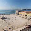 Tagus River and people and statue at Praca do Comercio in Lisbon