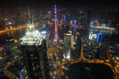 Shanghai City lights, China