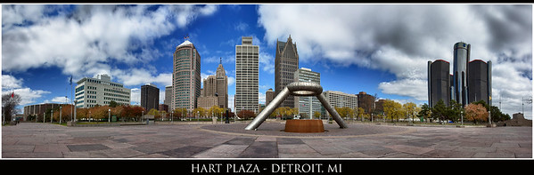 Hart Plaza and Detroit Skyline