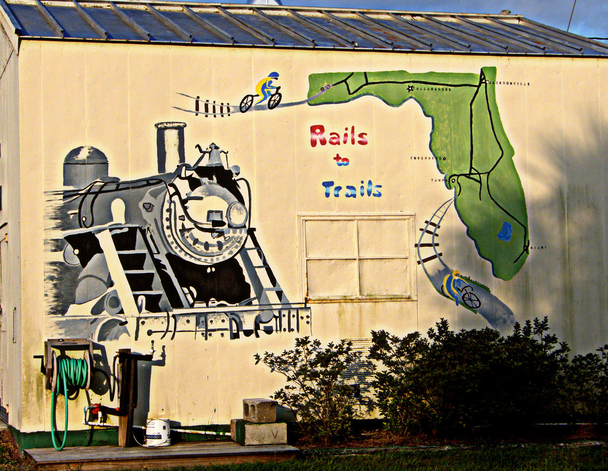 Rails to Trails mural at the trail head in Inverness