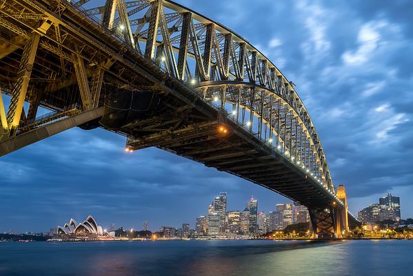 Twilight view of the Sydney Skyline and Harbour Bridge