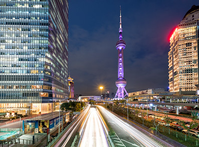 Pearl Tower with Traffic Lights