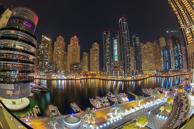 Fisheye view at Dubai Marina