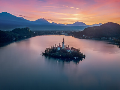 Aerial view Lake Bled