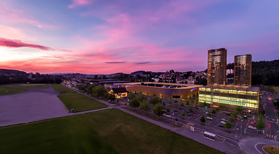 Spectacular Sunset with the Swisspor Arena in Lucerne