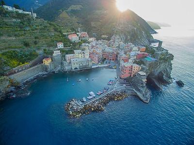 Aerial view Vernazza Cinque Terre