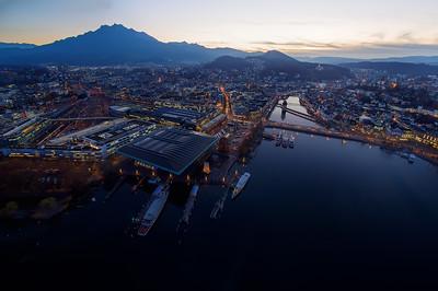 Aerial view over KKL Lucerne with Mount Pilatus