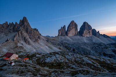 Last light over the Dolomites Mountains