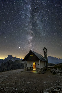Milkyway over Dolomites Mountains
