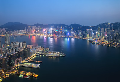 view over Hong Kong Harbour and the Amazing Skyline