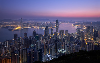 Sunrise over  Hong Kong City