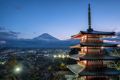 Twilight at Chureito Pagoda with the Mt. Fuji in the Background