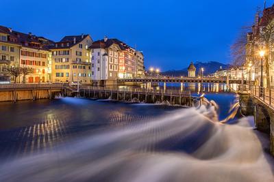 Reuss Lucerne during Twilight