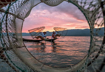 Sunset at Inle Lake with Fishermen