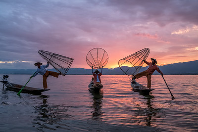 Sunset at Inle Lake with Fishermen