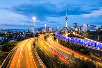 Auckland view to the Skytower with Lighttrails