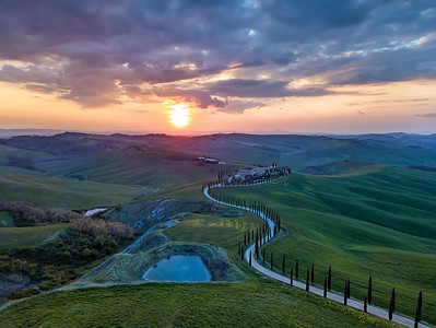 Aerial view over Tuscany