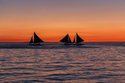 Sailing boats during Sunset on Boracay Island