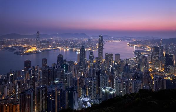Sunrise over  Hong Kong City