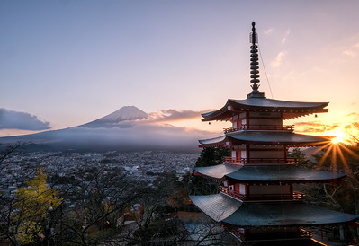 Chureito Pagoda and the Mt. Fuji during Sunset