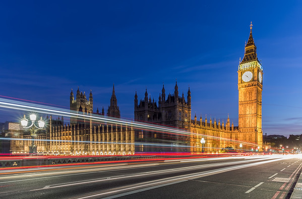 Big Ben and Westminster light trails