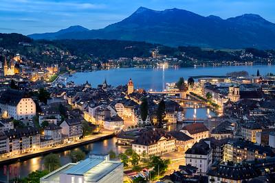 Twilight over Lucerne City