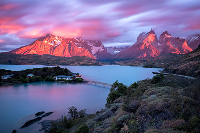 Sunset at Lake Pehoe