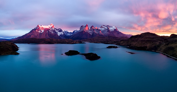 Aerial Panorama View over Lake Pehoe with los Cuernos in the Background