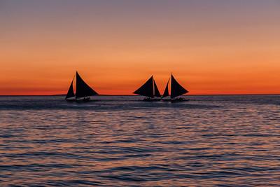 Sailing boats during Sunset on Boracay Island