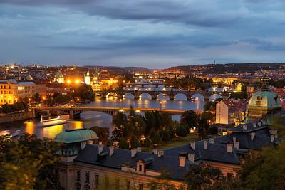 Night falls over Prague