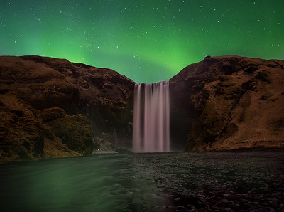 Skogafoss under the Northern Lights