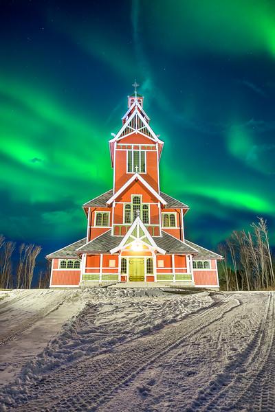 Aurora Borealis over  Buksnes Church