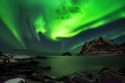 Aurora Borealis at Haukland Beach