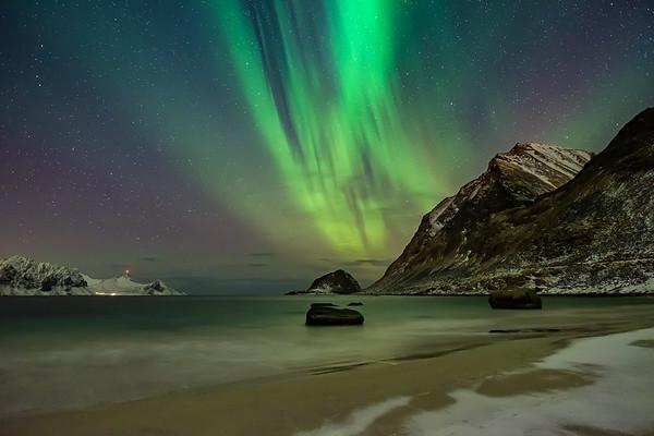 Aurora Borealis at Haukland Beach