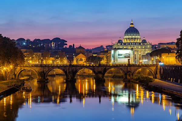 Amazing Sunset surronds St. Peters Basilica and the Vatican