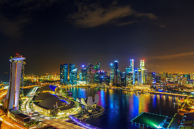 River and Finance District with Marina Bay Sands
