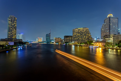 Boat Light Trails at Chao Phraya River