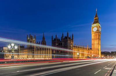 Big Ben and Westminster light trails