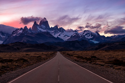 Road to El Chalten and Fitz Roy in the Background