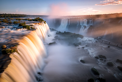The Iguazú Falls  during Sunset