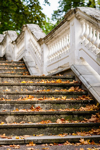 Outdoor retro style stairs with ornate railing