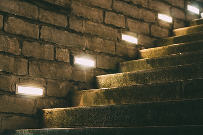 Outdoor stairs illuminated with inbuilt modern lights