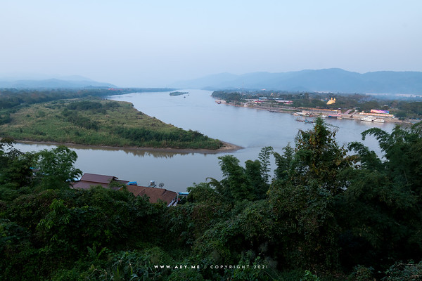 Golden Triangle, Chiang Rai, the Border of Thailand, Myanmar and Laos view from Wat Pra That Pukhao