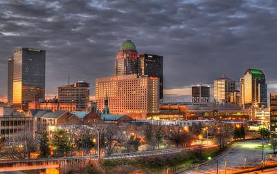 Louisville skyline with December lights