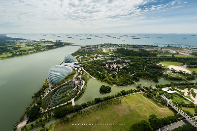 Gardens by the Bay and the Straits of Singapore
