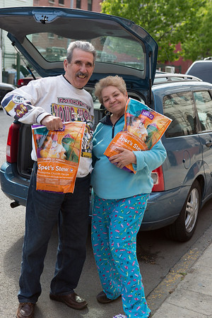 Posing with their donated food