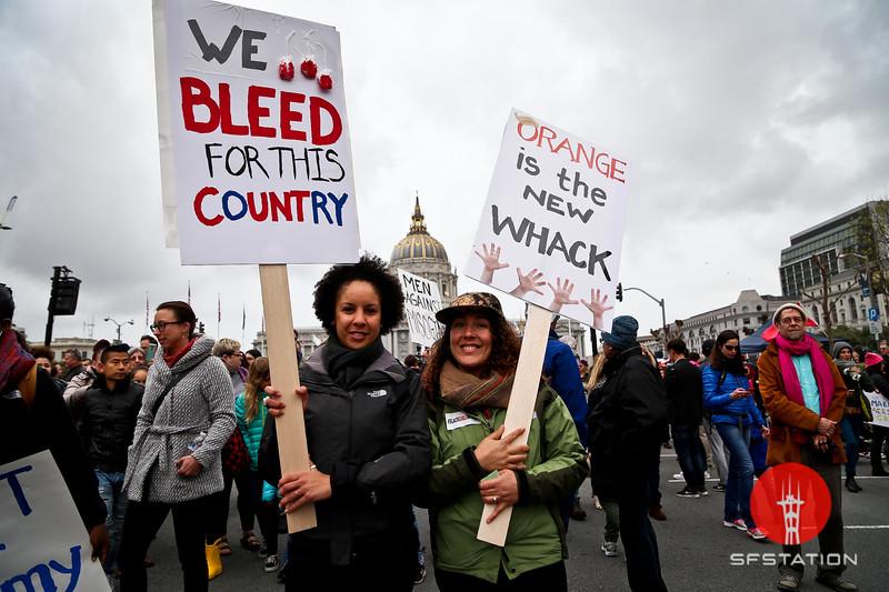 Women's March San Francisco, Jan 21, 2017 at Civic Center in San Francisco